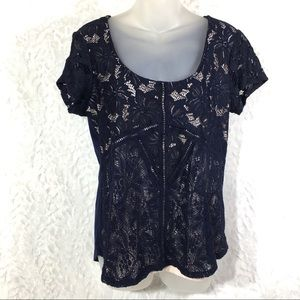 Maurices navy lace top blouse shirt short sleeve